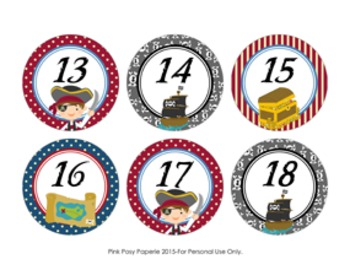 Pirate Cubby Number Labels 1-30