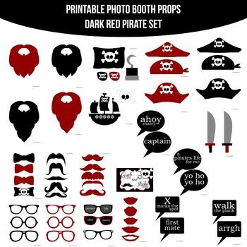 Pirate Dark Red Printable Photo Booth Prop Set