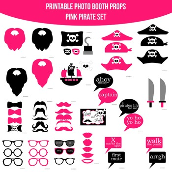 Pirate Pink Printable Photo Booth Prop Set