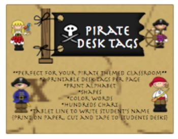 Pirate Desk tags BUNDLE with learning tools