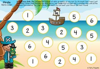 Pirate Dice Activities (Subitizing & Addition)