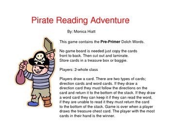 Pirate Dolch Sight Word Game PrePrimer