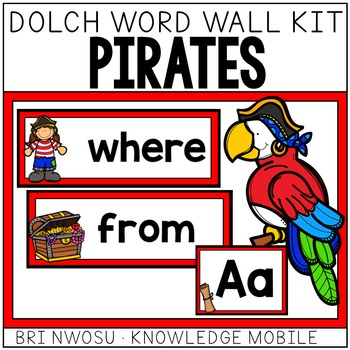 Pirate Dolch Word Wall Kit - 220 Cards, Labels, & Banners - Red & Black Edition
