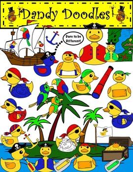 Pirate Duckies Clip Art by Dandy Doodles