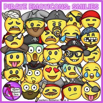 Pirate Emoji Clip Art: Pirate Smiley Faces Emoticons Clipart