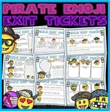 Pirate Emoji Emoticon Exit Tickets - Editable (color & black and white included)