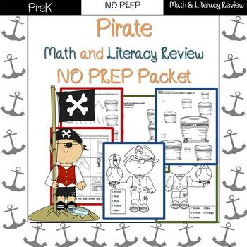 Pirate End of Year/Summer Review: PreK-Preschool NO PREP (Math & Literacy)