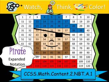 Pirate Expanded Notation - Watch, Think, Color! CCSS.2.NBT.A.1