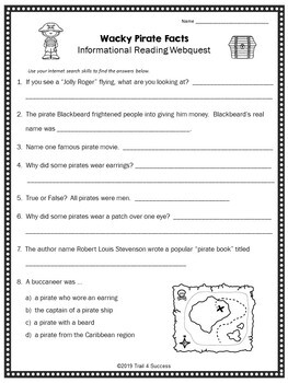 Pirate Facts Webquest Informational Reading  - Fun Internet Research Activity
