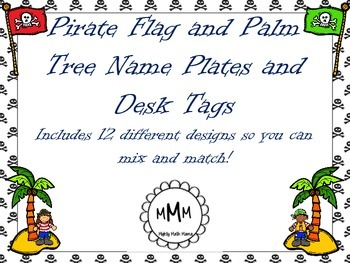 Pirate Flag and Palm Tree Name Plates and Desk or Cubby Tags
