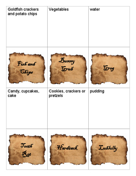Pirate Food Cards
