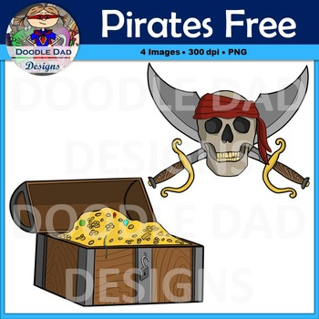 Pirate Free Clip Art (Skull with Swords and Treasure Chest)