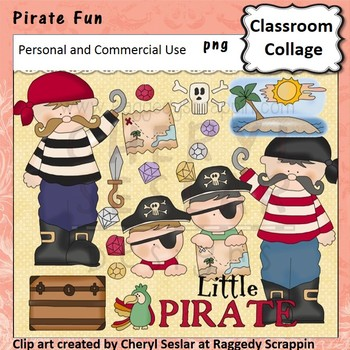 Pirate Fun with Glitter Jewels Clip Art personal & commercial use C Seslar