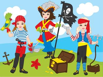 Pirate Girl Clipart - Digital Vector Pirates, Sea, Parrot, Pirates Clip Art