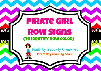 Pirate Girl Signs - Row Colors