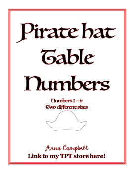 Pirate Hat Numbers - 2 Sizes