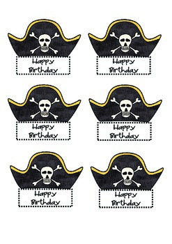 Pirate Hat Pixy Stick/Pencil Toppers Happy Birthday!