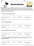 Pirate History Research Scavenger Hunt