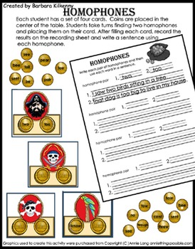 Literacy Center - Pirate Homophones - Sound alike words