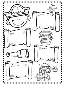 Pirate I Messages Worksheet By Positive Counseling Tpt