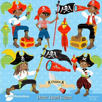 Pirate Island African American Clipart AMB-174