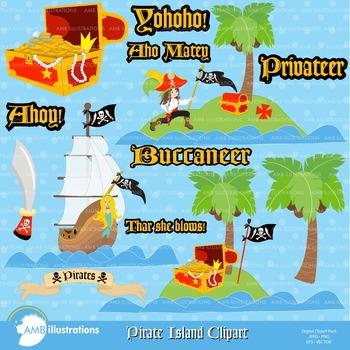 Clipart, Pirate Island Ahoy clip art, Digital Images,  AMB-176