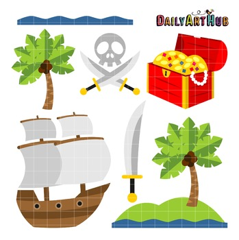 Pirate Island Clip Art - Great for Art Class Projects!