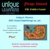 Pirate Island Folder Game Phonics Vowel Diphthong au aw