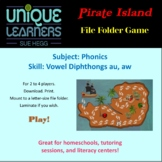 Pirate Island Folder Game Phonics Vowel Diphthong au aw