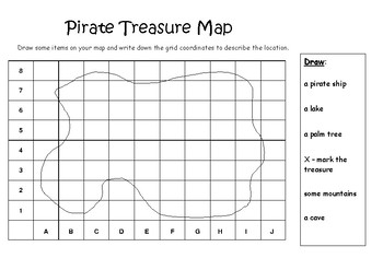 pirate island map grid coordinates by casey mcleod tpt. Black Bedroom Furniture Sets. Home Design Ideas