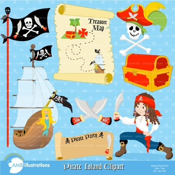 Clipart, Pirate Island props and objects, clip art Digital