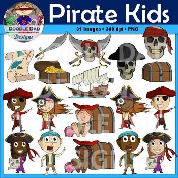 Pirate Kid Clip Art (Treasure, Ship, Skull, Sword, Boat,)