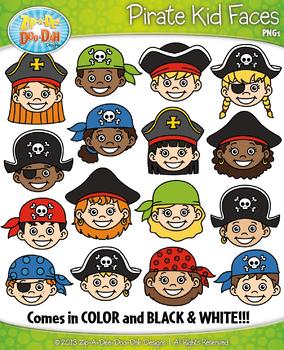 Pirate Kid Faces Clipart {Zip-A-Dee-Doo-Dah Designs}