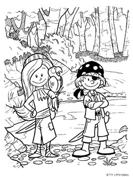 Pirate Kids 3 Printable Pdf Coloring Pages By Tim S Printables Tpt