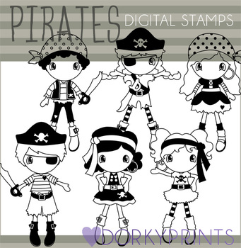 Pirate Kids Black Line Art