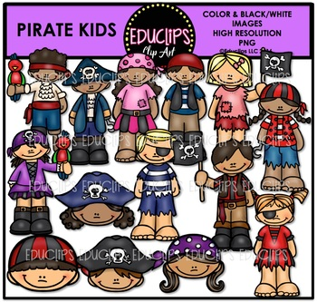 Pirate Kids Clip Art Bundle {Educlips Clipart}
