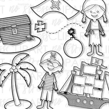 Pirate Kids Clip Art (Digital Use Ok!)