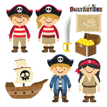 Pirate Kids Clip Art - Great for Art Class Projects!