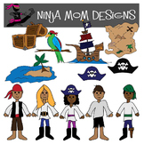 Pirate Kids Clip Art in Color and Black Line