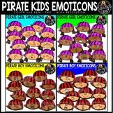 Pirate Kids Emoticons Clip Art Set {Educlips Clipart}