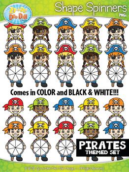 Pirate Kids Spinner Shapes Clipart {Zip-A-Dee-Doo-Dah Designs}