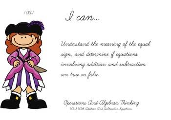Pirate Kids Theme 1st grade math Common Core Posters first Grade Standards