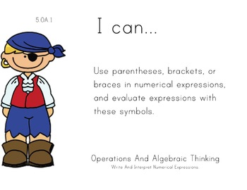 Pirate Kids Theme 5th grade math Common Core Posters Fifth Grade Standards