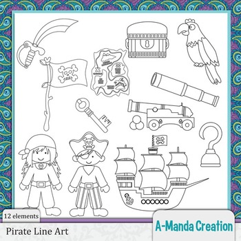 Pirate Line Art and Digital Stamps