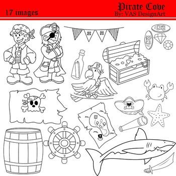 Pirate Line Clip Art clipart