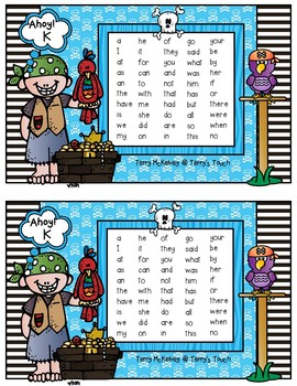 Pirate Literacy First Sight Word Cards