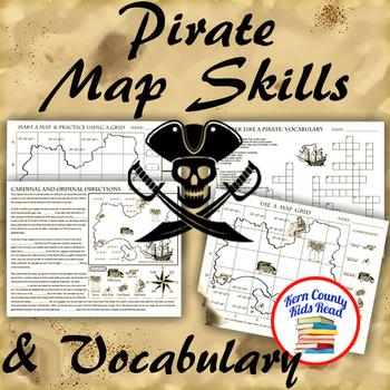 Pirate Map Skills Grid Coordinates Cardinal Ordinal Directions