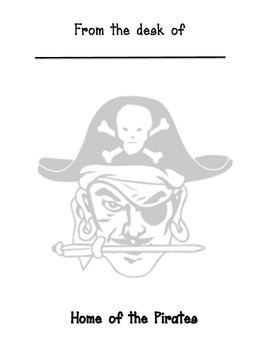 Pirate Mascot Memo sheet