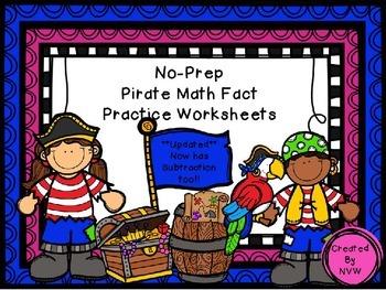 Pirate Math Fact Worksheets