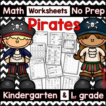 Pirate Math -No Prep- Kindergarten and 1st Grade Worksheets